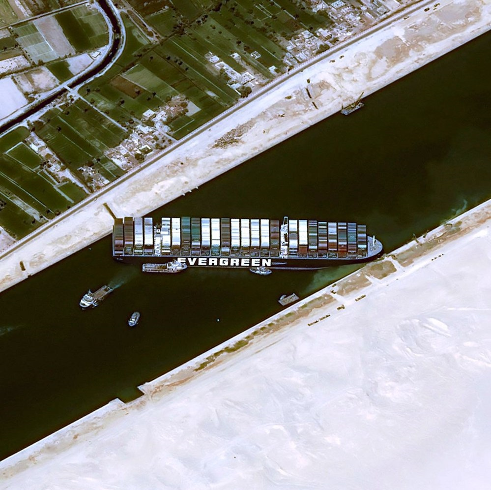 Container ship Ran Aground in Suez Canal